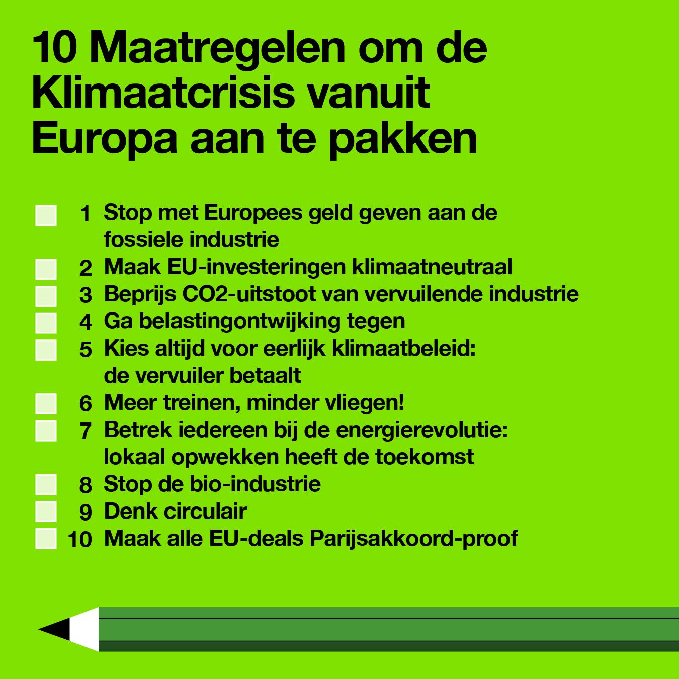 Tien maatregelen om de klimaatcrisis vanuit Europa aan de pakken
